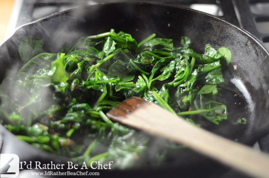 shallots, bacon and spinach sauteed with bacon fat