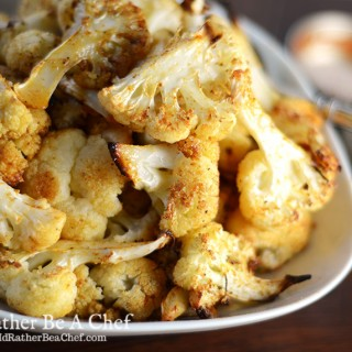 roasted cauliflower recipe ready to be served