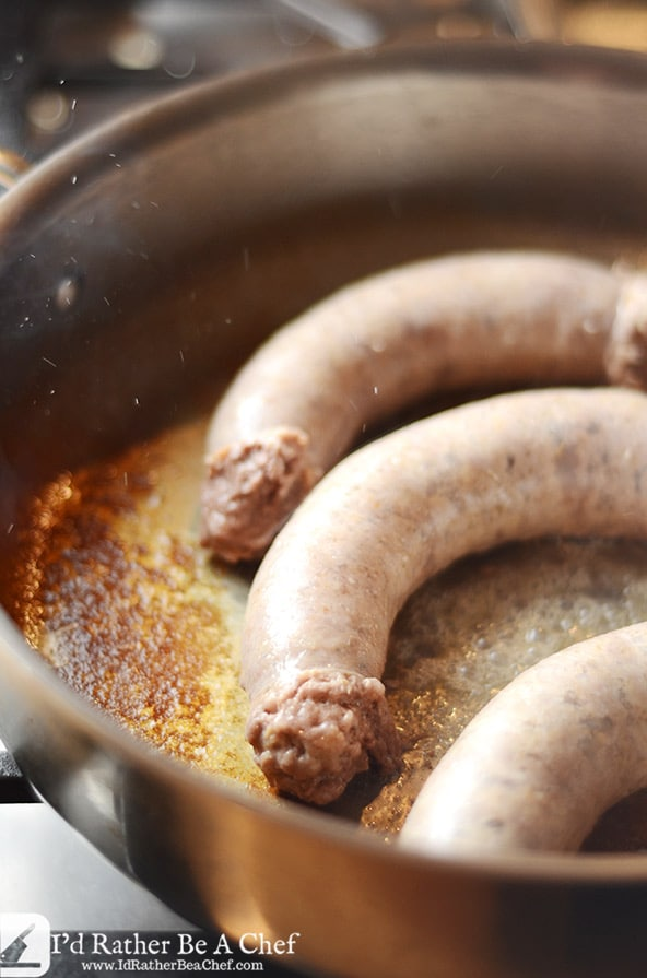 pan searing bratwurst for the buttered cabbage recipe