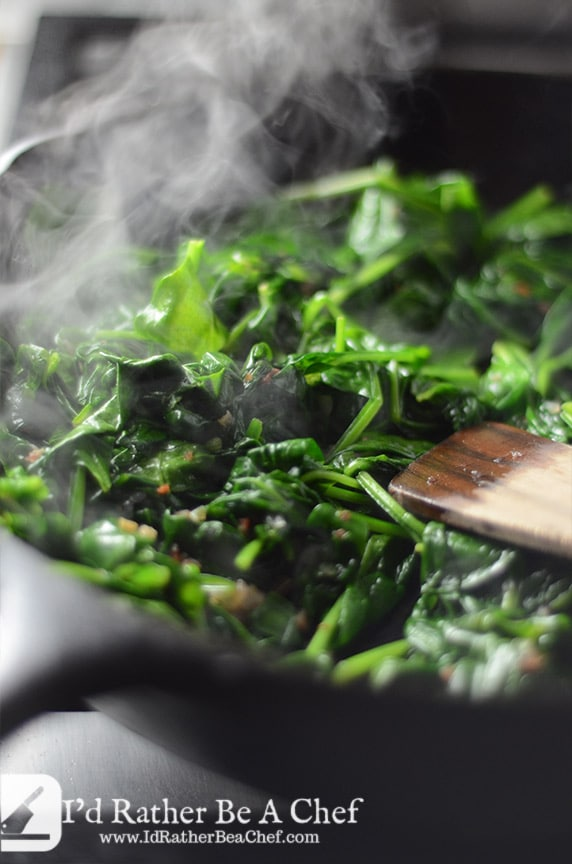 piping hot sauteed spinach with bacon and shallots