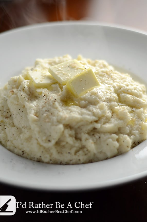 awesome cauliflower puree with shallots and roasted garlic