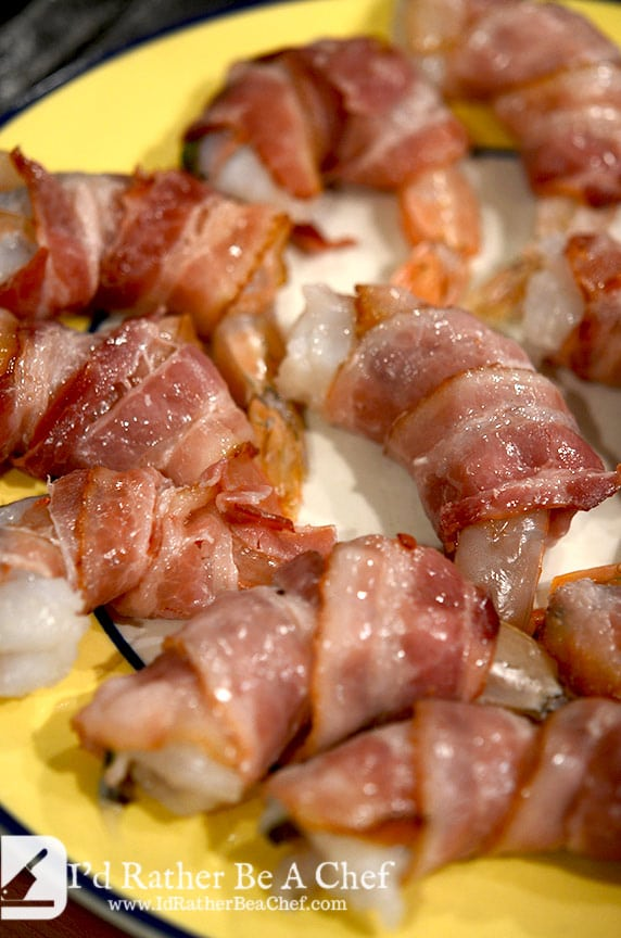 bacon wrapped shrimp ready to be sauteed