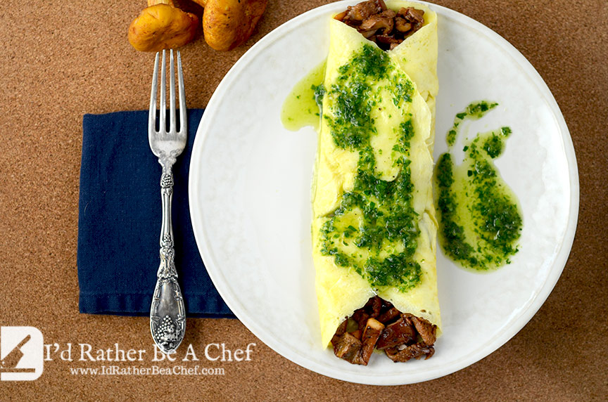 A wild mushroom omelette recipe that you'll go wild for! Topped with a fine herb sauce which pairs perfectly! So good you should make one now.