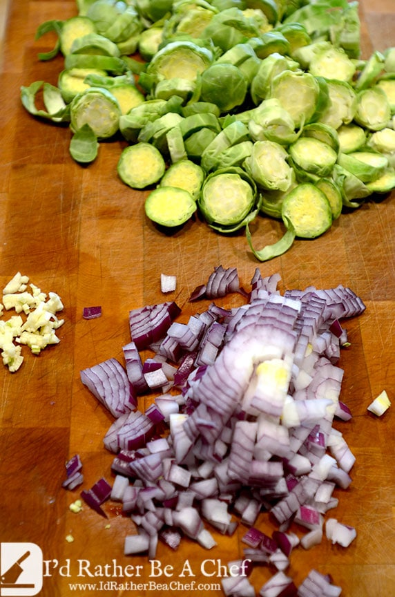 Getting all the ingredients ready for the brussels sprouts and bacon hash. So delicious and perfect for the paleo brunch or paleo breakfast