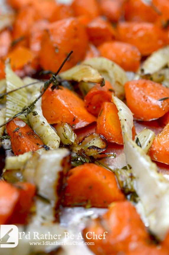 The caramelization sweetens the roasted carrots and fennel puree naturally, creating a harmony of flavors.
