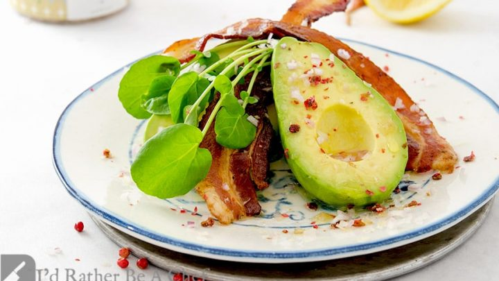 The perfect bacon avocado salad with whole, peeled avocado, thick cut bacon, lemon juice, avocado oil and more!