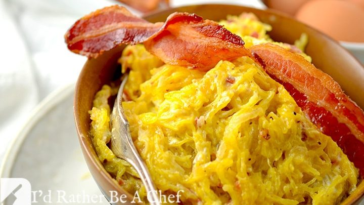 A perfect bacon carbonara recipe made with goat cheese, spaghetti squash and caramelized onions!