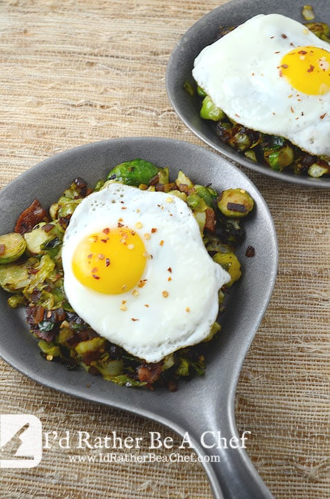 Brussels sprouts and bacon with a slow cooked egg makes the perfect paleo breakfast or paleo brunch dish!