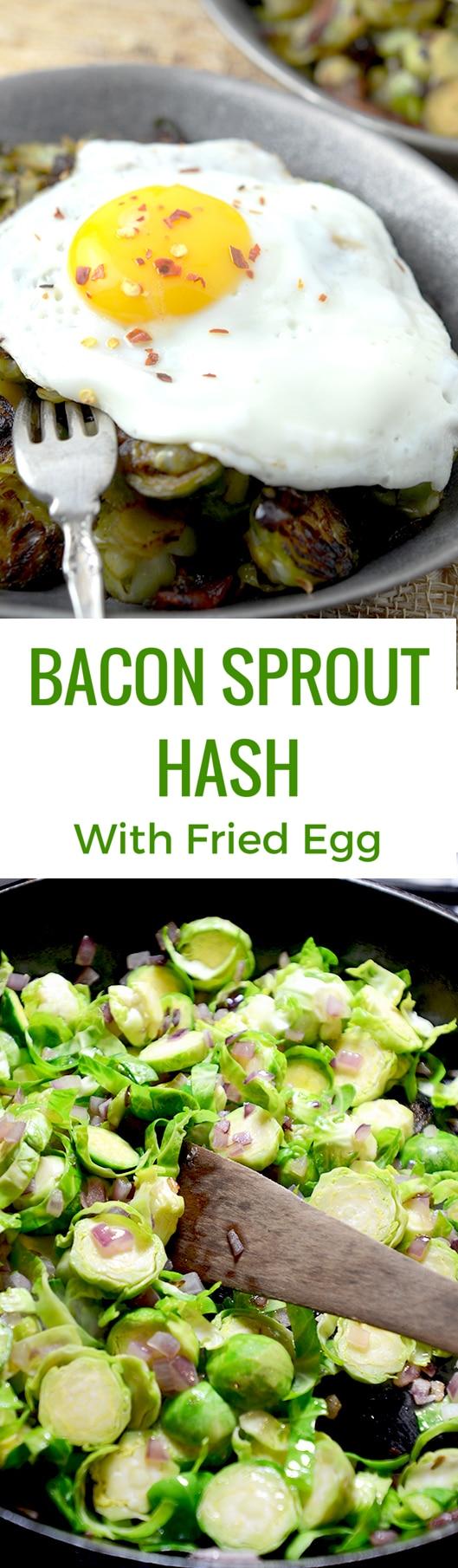 Piercing the slow cooked egg on top of the brussels sprouts and bacon ...