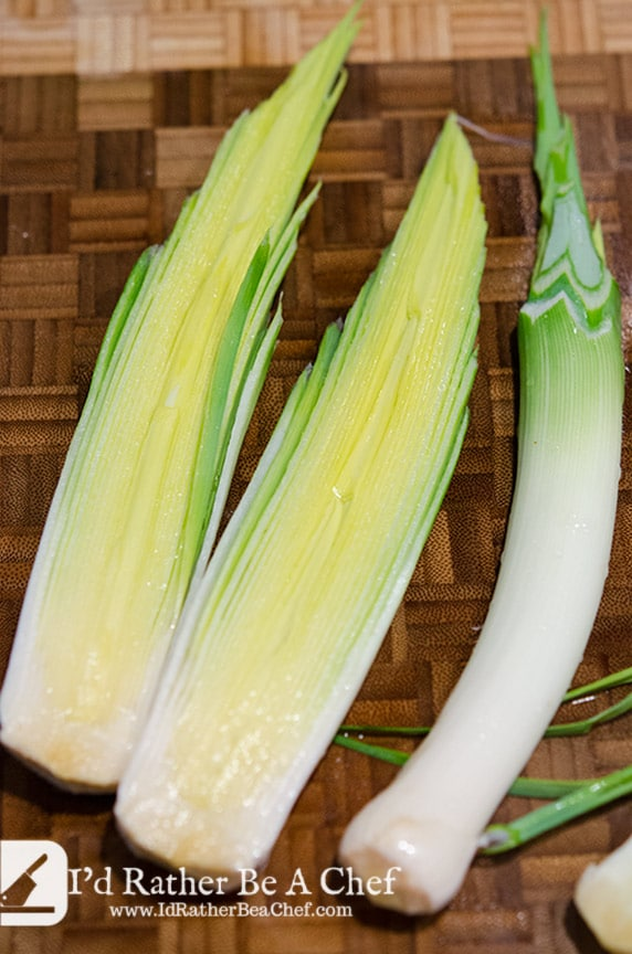 Clean leeks are really important for the creamed leeks recipe. This little trick will save you a lot of time in the long run!