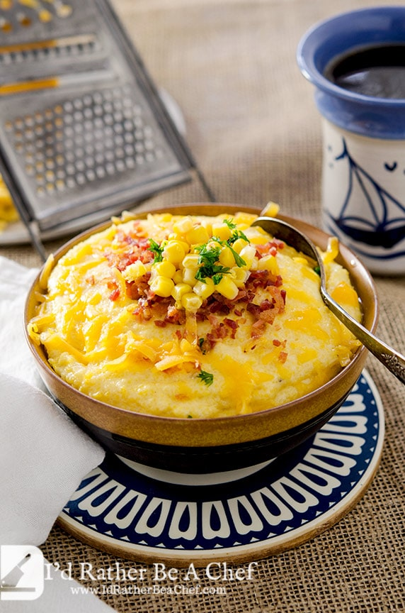 ... . These creamy grits love bacon crumbles and some whole kernel corn