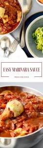 An easy marinara sauce, ready in under 30 minutes, that tastes like you cooked all day. With pepperoni, artichoke hearts & fresh garlic! | This easy marinara sauce recipe takes less than 30 minutes, uses simple ingredients and your family will love it!