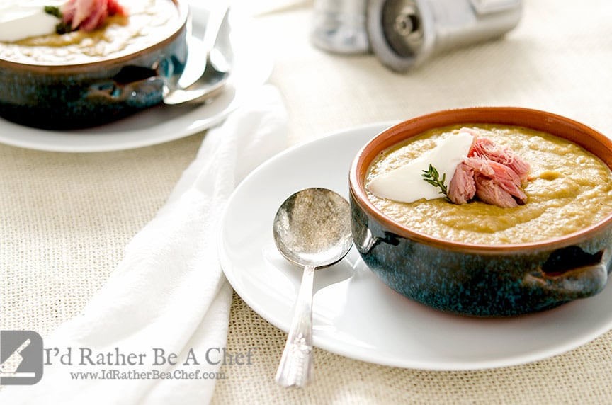 Warm up to this easy split pea soup recipe with delicious smoked ham, onions, shallots and garlic. So good. So easy. Give it a try today!