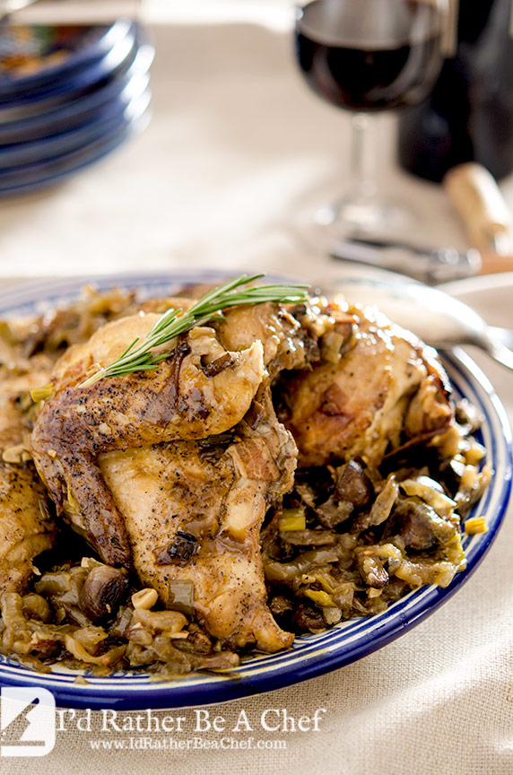 The slow cooker coq au vin is a fantastic meal that your whole family will love. Enjoy with a sturdy red wine like a merlot.