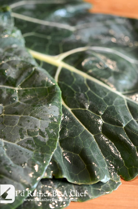 The key to good southern collard greens are super fresh greens! These are organic and delicious.