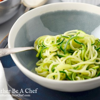 Super easy zoodles recipe is quickly sauteed in olive oil with salt and pepper!