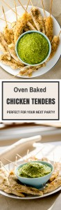 Oven backed chicken tenders are tender, juicy and fun to eat. This no-bread baked chicken tenderloin recipe is healthy too!