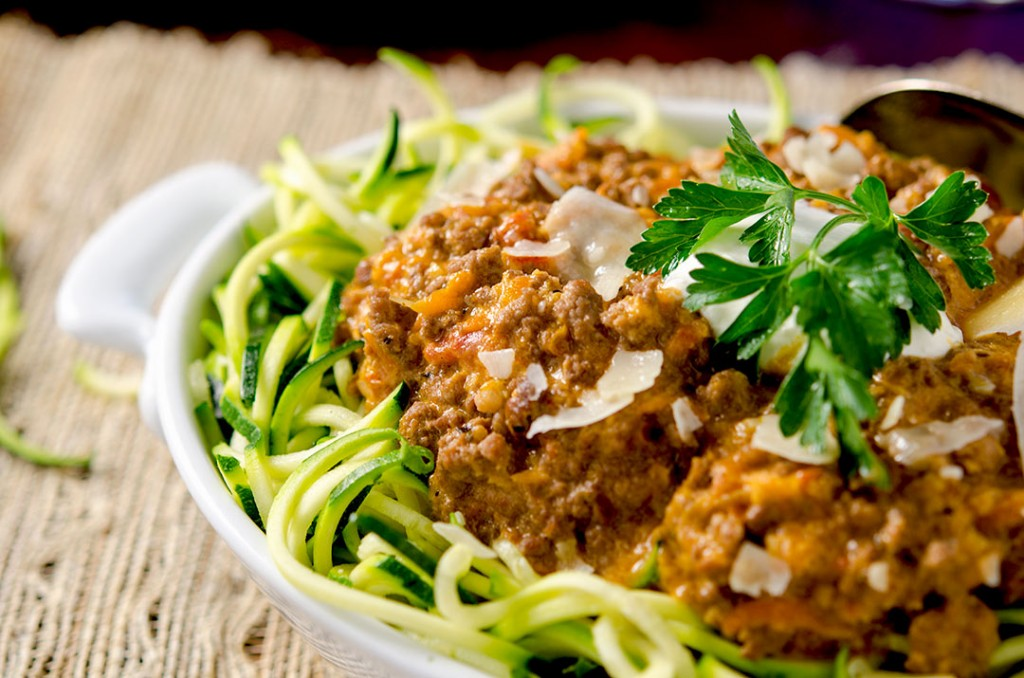 A delicious, authentic bolognese sauce ready in about an hour. Full of flavor, wonderful texture and the perfect accompaniment to zoodles or noodles.