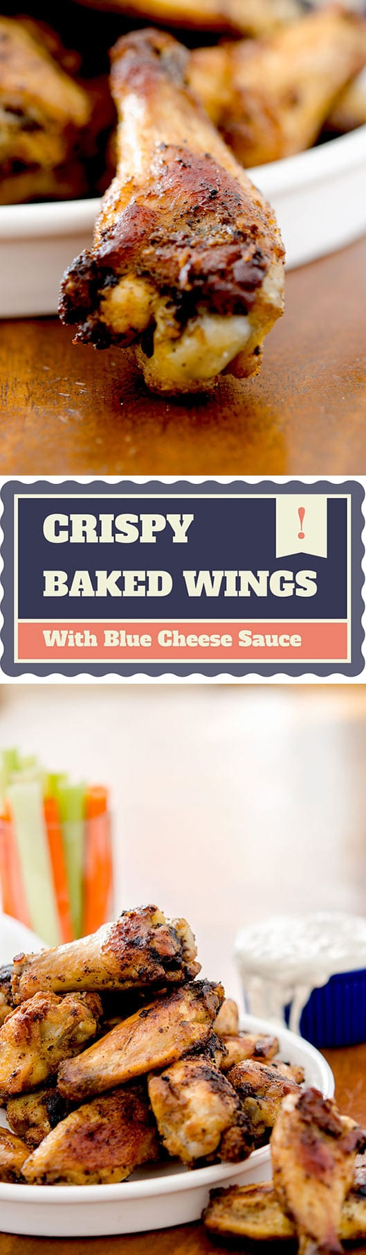 Sink your teeth into these crispy baked chicken wings made with a spicy dry rub and finished with a cooling blue cheese sauce.