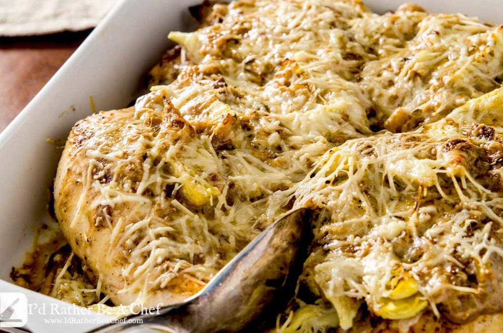 This baked lemon artichoke chicken dish is chock full of goodness with a creamy onion and sherry sauce that marries perfectly with the crisp artichoke hearts and juicy chicken.