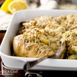 A creamy lemon artichoke chicken baked with parmesan cheese on top. It is so fresh and delicious I almost can't stand it.
