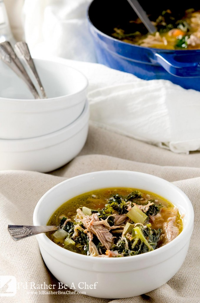 A wonderful pulled pork soup recipe that is hearty and healthy all at the same time. This soup has pulled pork, kale, zucchini, mirepoix and homemade chicken stock too!