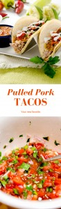 A perfectly delicious pulled pork taco recipe with pico de gallo salsa and a delicious chipotle pepper sauce! A Mexican fiesta! | Delightfully spicy pulled pork tacos with 2 BONUS recipes: Pico de Gallo & Chipotle Pepper Sauce. Super fresh and ready for a Mexican fiesta