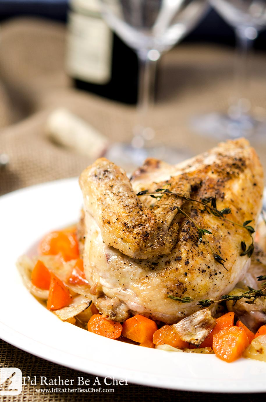 Look at the crispy skin on this roasted chicken and vegetables recipe. Just delicious with the fresh thyme, carrots and onions. Outstandingly simple and super tasty.