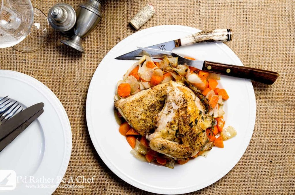 Delightfully simple roasted chicken and vegetables recipe, ready in just about a half hour. So tender and juicy, you'll wish you made more!