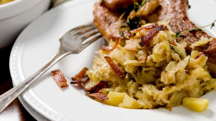 A wonderful sauteed cabbage side dish with bacon, onions and apples. Perfect pairing with a thick cut pork chop.