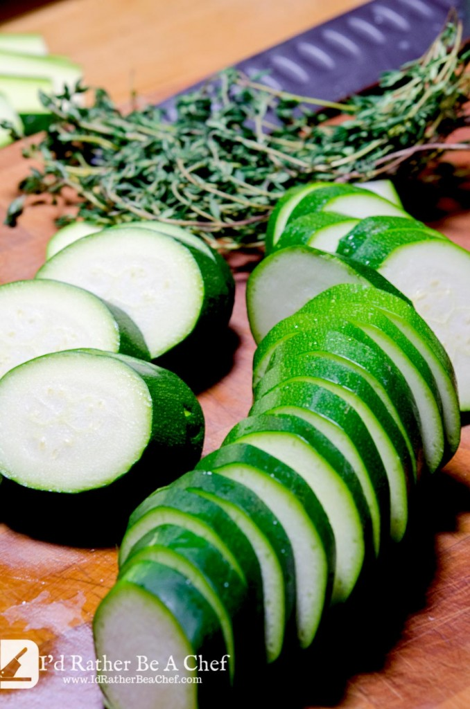 Cut the zucchini on the bias to prepare for the sauteed zucchini recipe. Fresh thyme really makes this veggie side dish sing!