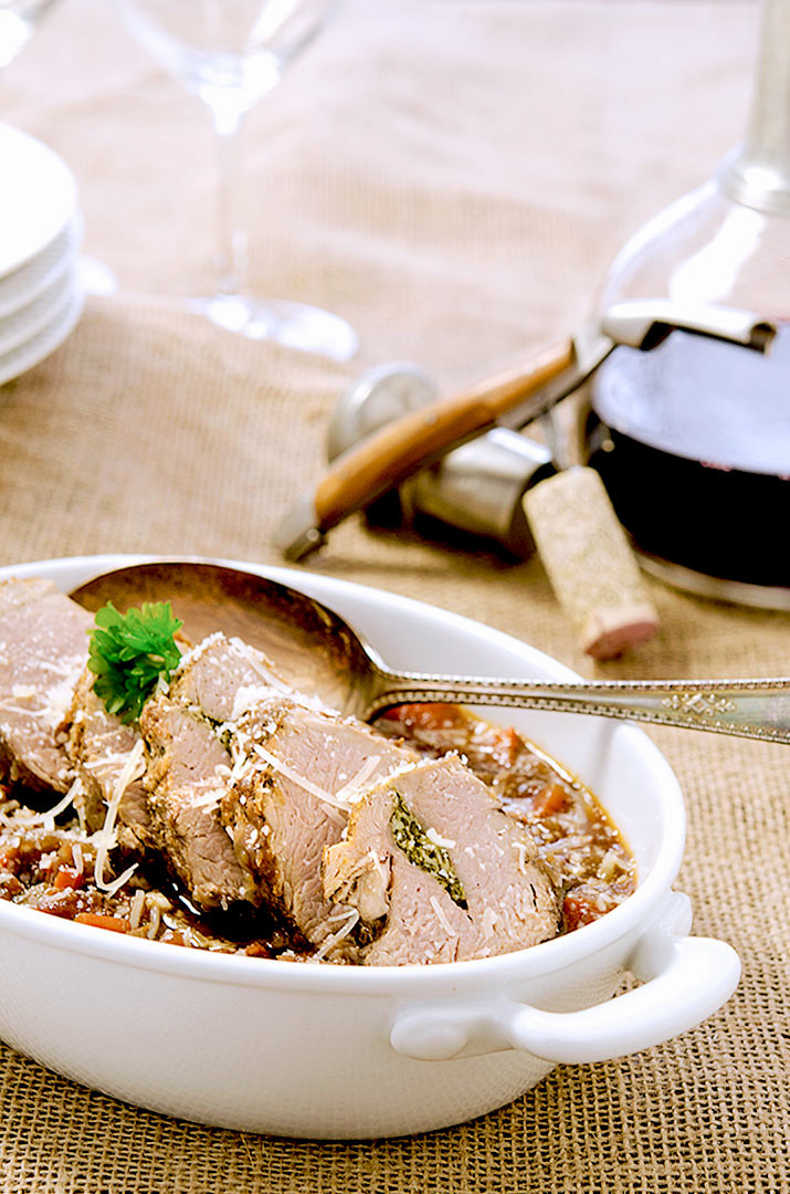 This roasted pork tenderloin meal pairs perfectly with a Malbec or Pinot Noir.