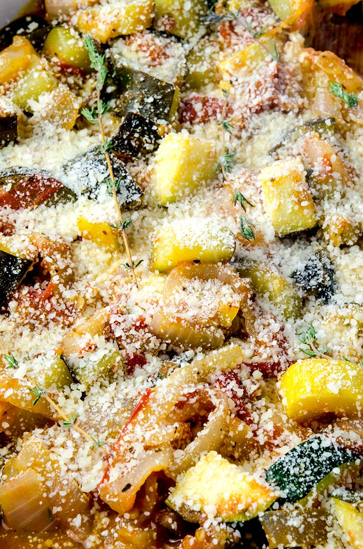 The perfect slow simmered ratatouille dish that pairs with pork, fish and lamb wonderfully.