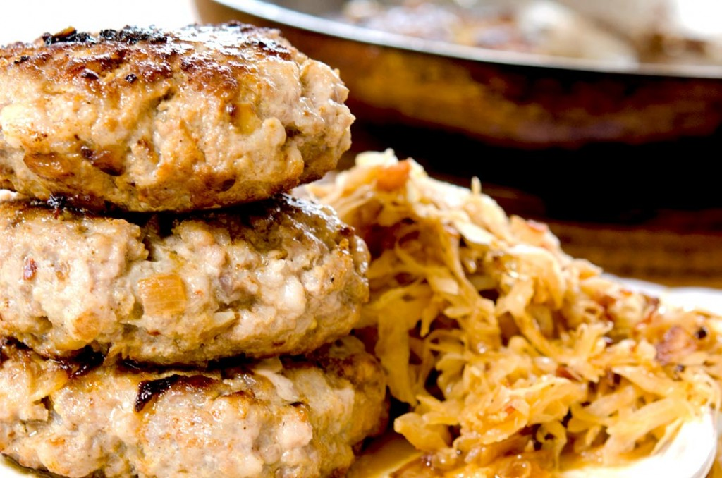 Ground pork burgers recipe with sauerkraut and other goodness!