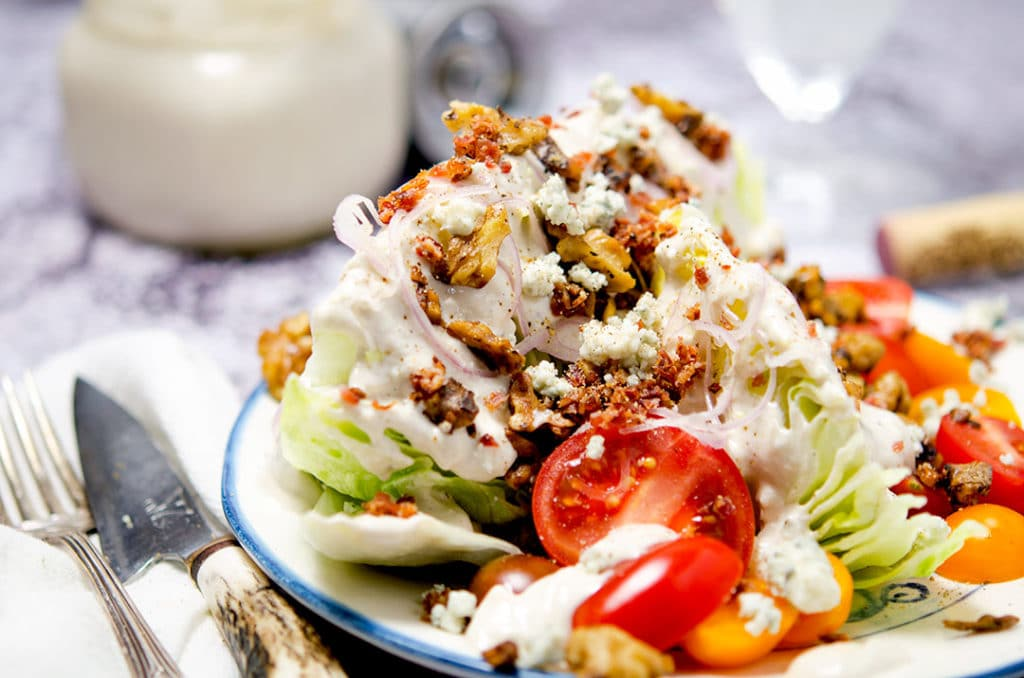 iceberg wedge salad with homemade blue cheese dressing, crumbly bacon ...