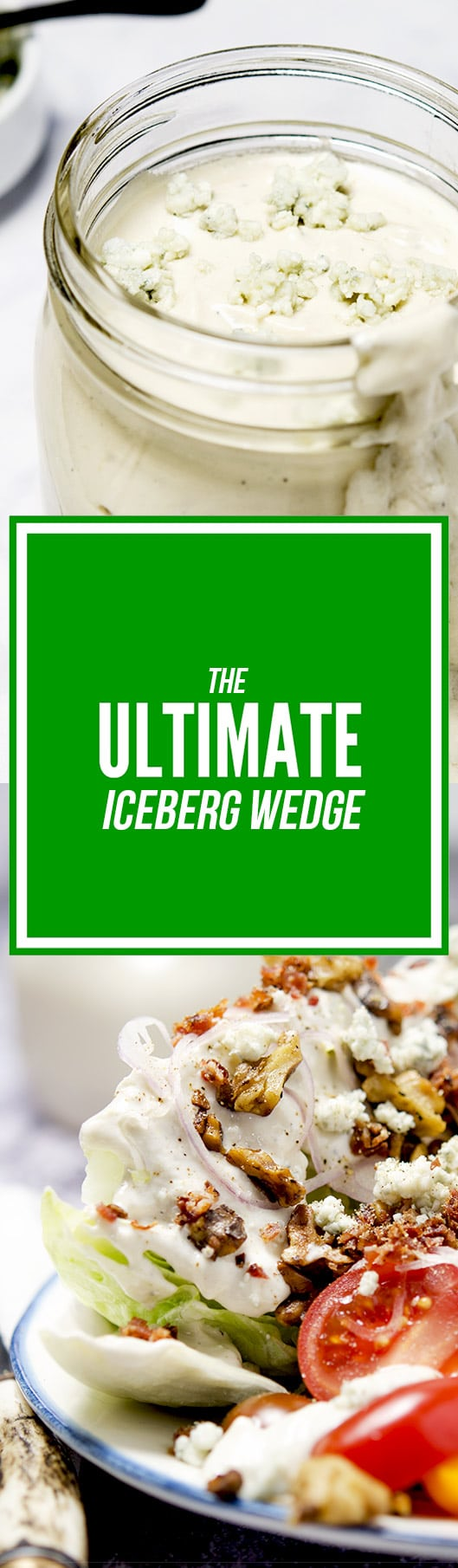 The perfect iceberg wedge salad has blue cheese dressing, bacon bits,  shallots, butter - Ultimate Iceberg Wedge Salad I'd Rather Be A Chef
