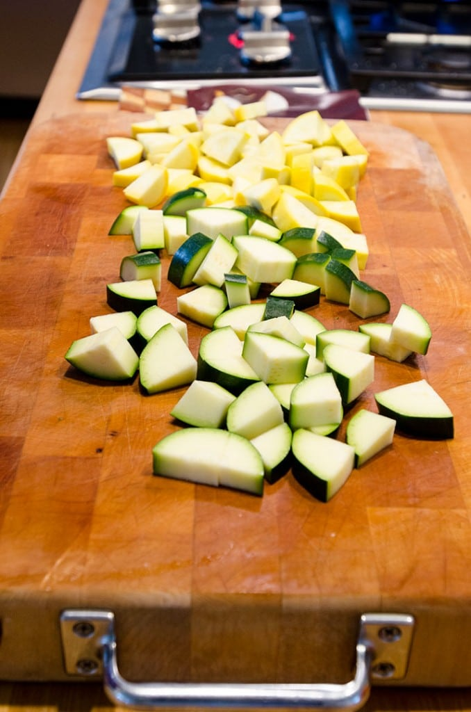 A French ratatouille dish uses the freshest of ingredients including zucchini and yellow squash.