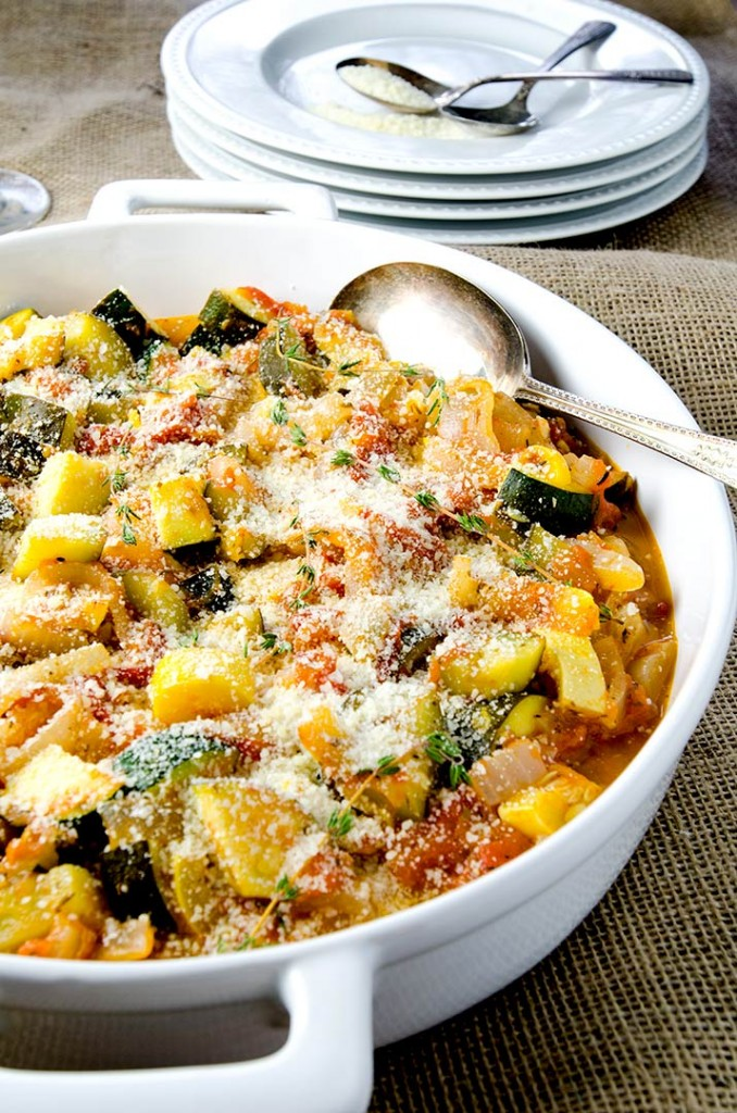 A versatile ratatouille dish that is perfect as a side or on eggs!