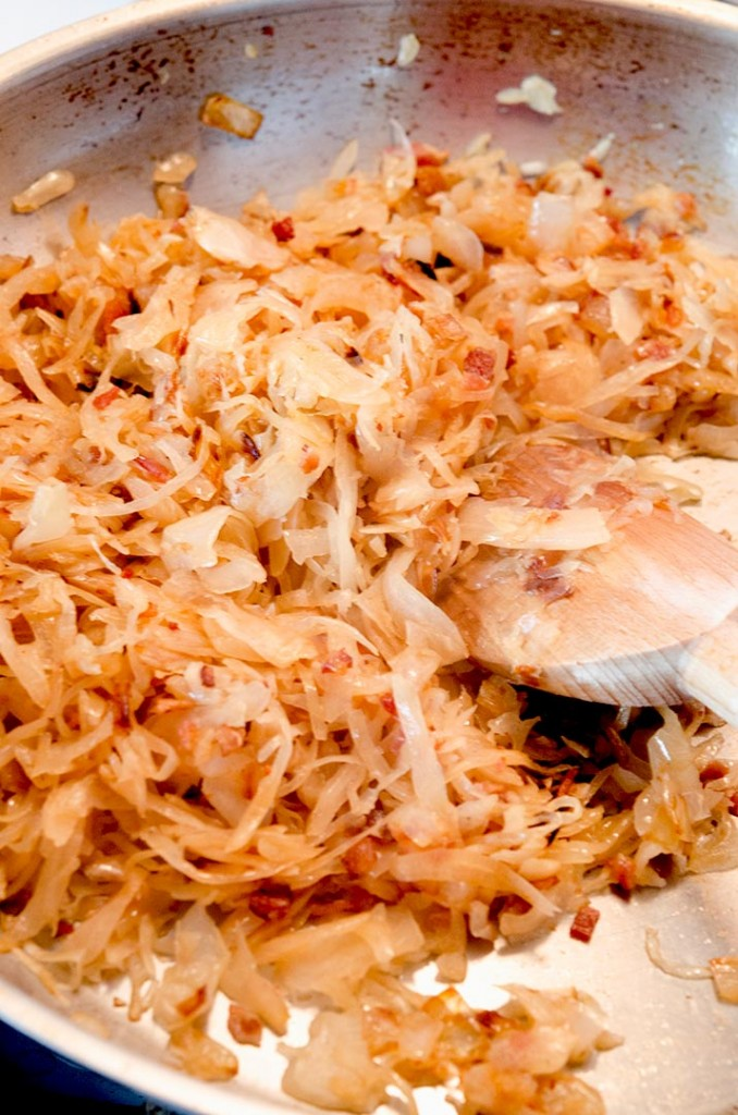 This sauerkraut recipe turns golden brown in the pan. It looks delicious and tastes even better.