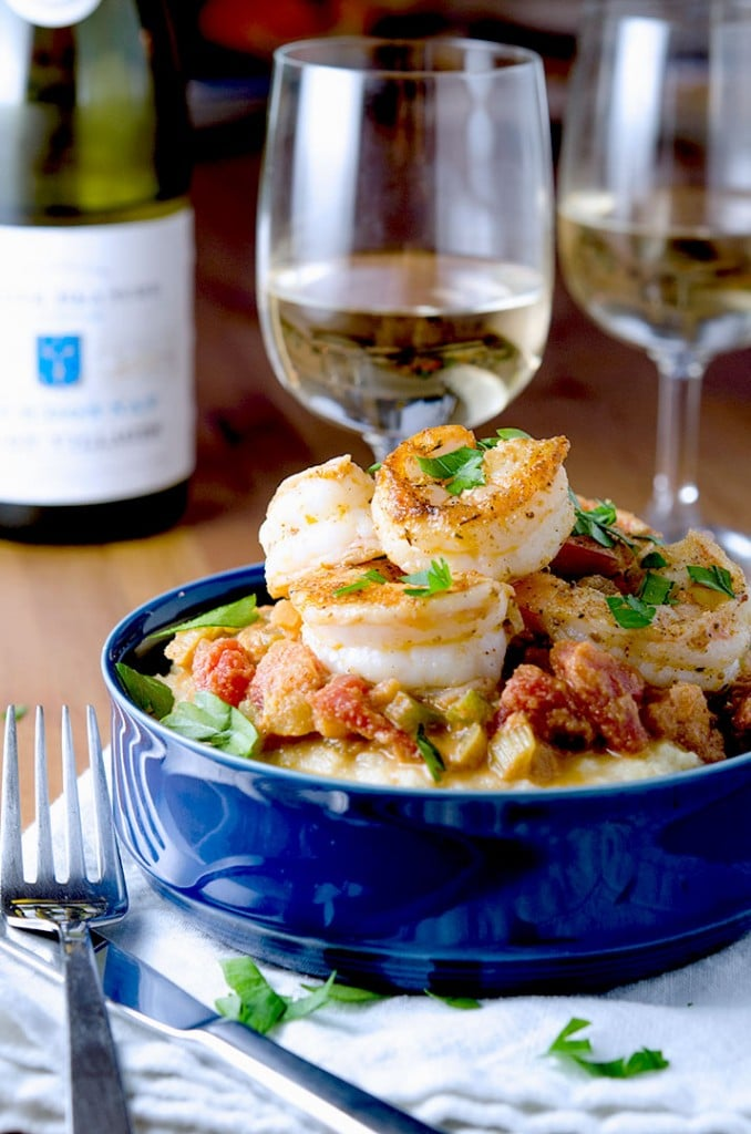 Sassy shrimp creole with cajun-style shrimp, creole sauce and creamy polenta.