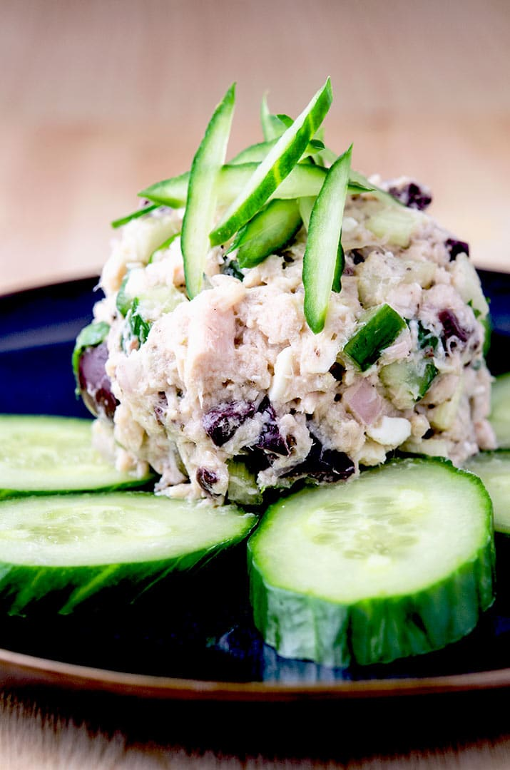 I like to scoop this tuna salad recipe right off the plate with the cucumber slices. The mediterranean flavors just compliment the tuna perfectly.