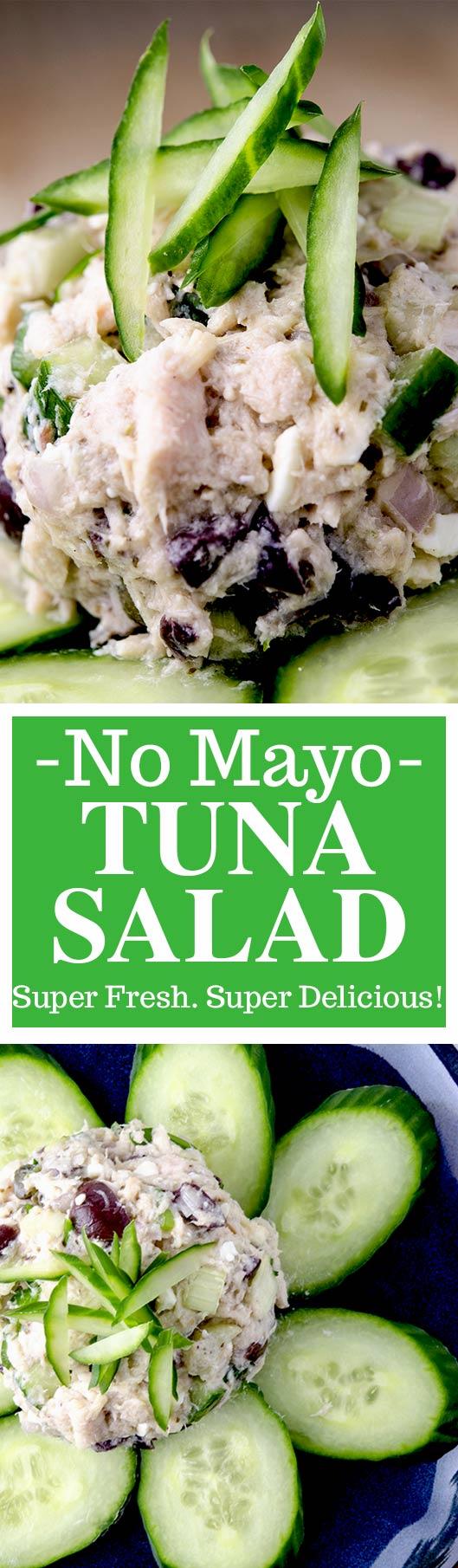 The perfect Mediterranean No Mayo Tuna Salad Recipe. With fresh citrus, kalamata olives, feta and more... you have to check out this tuna salad recipe.