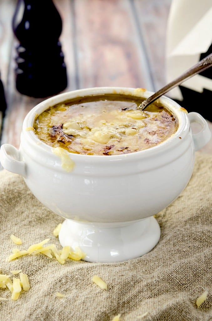 Even without any bread, this French Onion Soup Recipe is a winner. With all whole ingredients and melty cheese, you can't go wrong!!