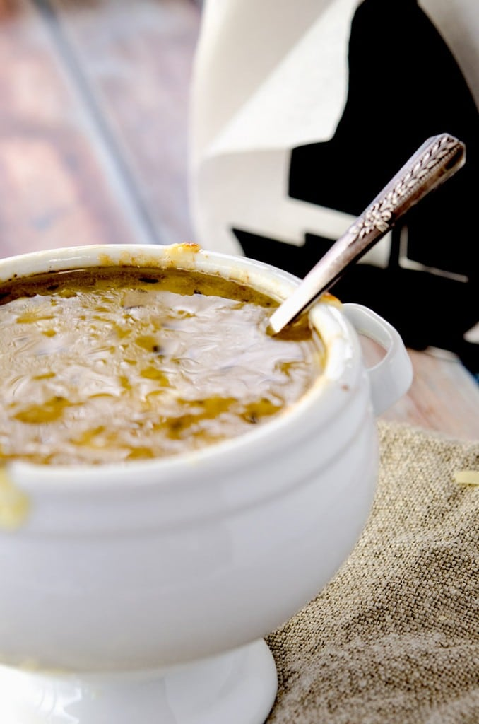 A blonde French Onion Soup Recipe just means that the onions are not as caramelized. The result is a lighter, more approachable onion soup.