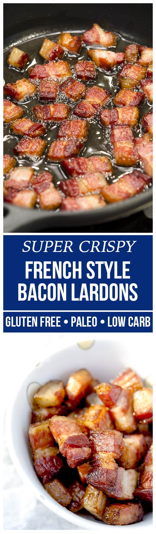 These French style bacon lardons are incredibly easy to make, resulting in tender yet crispy lardon ready to top salads, eggs or potatoes!