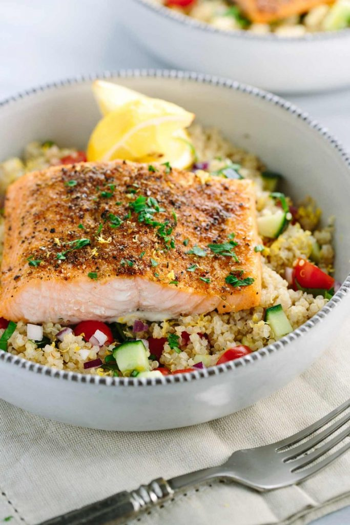 The perfect Mediterranean spiced salmon with vegetable quinoa makes a wonderful addition to this low carb dinner recipes roundup.