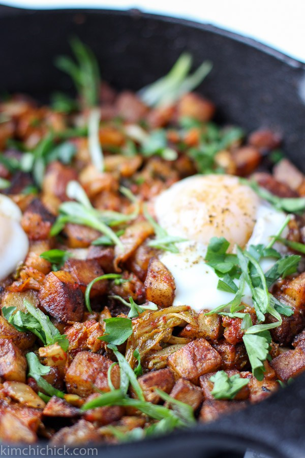 If you love kimchi, then this kimchi potato hash with pork belly is for you. Its on our pork belly recipes roundup too!