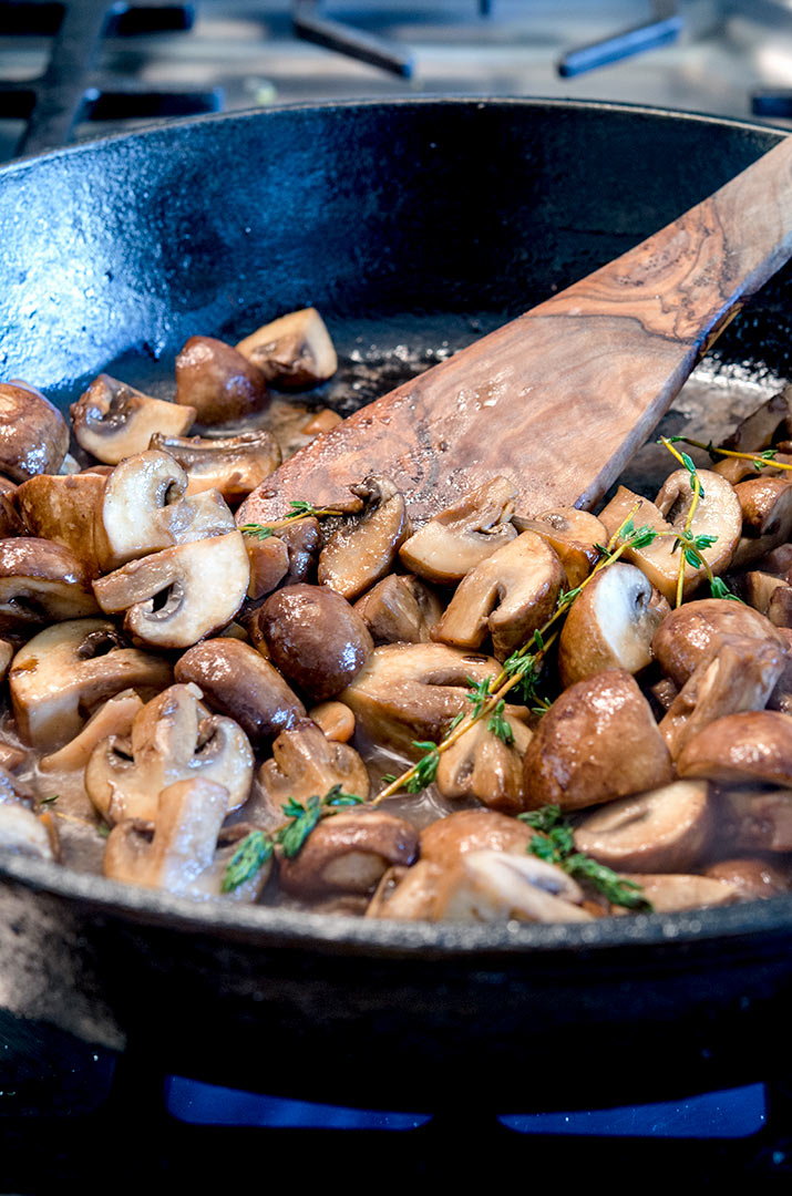 Sauteed mushrooms taste better with herbs and roasted garlic!