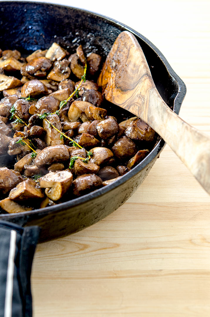 Sauteed mushrooms love to be paired with protein, particularly steak!