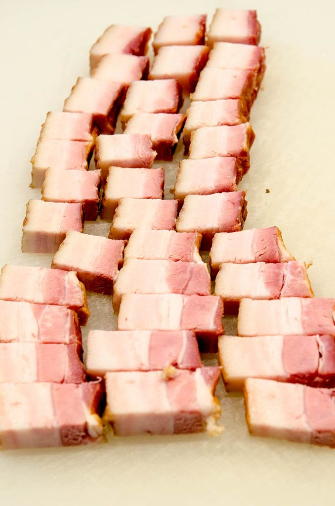 Cut the bacon into batons as shown in this picture. Oh these are going to be delicious bacon lardon!